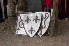 Παλαιά φωτογραφία εξοπλισμού ιπποτών ασπίδων Στοκ φωτογραφίες με δικαίωμα ελεύθερης χρήσης