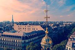 Παλαιά φωτογραφία με την εναέρια άποψη από το Παρίσι, Γαλλία Στοκ Εικόνες