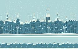 Παλαιά χειμερινή πόλη με το χιόνι απεικόνιση αποθεμάτων