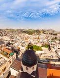 παλαιά όψη μουσουλμανικών τεμενών της Ιερουσαλήμ πόλεων aqsa Al Άποψη από τη λουθηρανική εκκλησία του απελευθερωτή Στοκ εικόνες με δικαίωμα ελεύθερης χρήσης