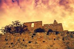 παλαιά όψη μουσουλμανικών τεμενών της Ιερουσαλήμ πόλεων aqsa Al Στοκ Εικόνες