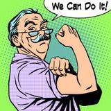 Παλαιά δύναμη χειρονομίας ατόμων Grandpa μπορούμε να το κάνουμε Στοκ Εικόνες