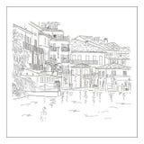 Παλαιά europian πόλη στη λίμνη Συρμένο χέρι σκίτσο ελεύθερη απεικόνιση δικαιώματος