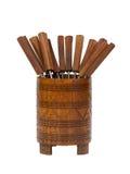 Παλαιά fondue της Σουρινάμ δίκρανα, που απομονώνονται Στοκ Εικόνες