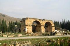 Παλαιές αρχαίες καταστροφές Hierapolis στην Τουρκία Στοκ Εικόνες