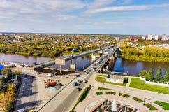 Παλαιές γέφυρα και κατασκευή νέα Tyumen Ρωσία Στοκ φωτογραφίες με δικαίωμα ελεύθερης χρήσης
