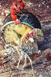 Παλαιές διακοσμήσεις ρολογιών και Χριστουγέννων Στοκ εικόνα με δικαίωμα ελεύθερης χρήσης