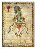 Παλαιές κάρτες tarot Πλήρης γέφυρα Βασιλιάς των φλυτζανιών Στοκ Φωτογραφίες