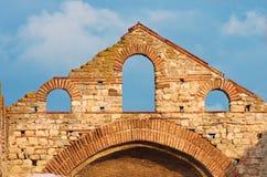 Παλαιές καταστροφές μιας βυζαντινής λεπτομέρειας εκκλησιών Στοκ Φωτογραφίες