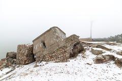 Παλαιές καταστροφές πολεμικών οχυρών στην παραλία Στοκ Εικόνες