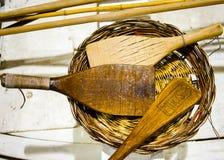 Παλαιές ξύλινες κουτάλες που χρησιμοποιούνται από τους ναυτικούς για να κάνει το εδώδιμο χταπόδι Στοκ φωτογραφίες με δικαίωμα ελεύθερης χρήσης