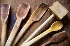 Παλαιές ξύλινες κουτάλες Στοκ Εικόνα