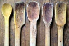 Παλαιές ξύλινες κουτάλες Στοκ Εικόνες
