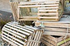 Παλαιές ξύλινες παγίδες αστακών Στοκ Φωτογραφία
