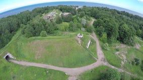 Παλαιές οχυρώσεις από το ύψος της πτήσης πουλιών απόθεμα βίντεο
