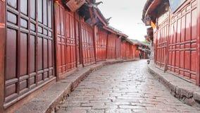 Παλαιές πόλης οδοί Lijiang το πρωί, επαρχία Yunnan, Κίνα απόθεμα βίντεο