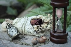 Παλαιές ρολόι και κλεψύδρα τσεπών με τα ξηρά λουλούδια Στοκ Εικόνες