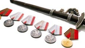 Παλαιές φωτογραφίες λεπίδων βραβείων μεταλλίων κορδελλών StGeorges στις 9 Μαΐου έννοιας 40 ήδη η μάχη έρχεται αιώνια δόξα λουλουδ Στοκ Εικόνες