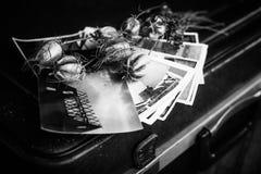 Παλαιές φωτογραφίες, μια κάμερα και ξηρά λουλούδια μαύρο λευκό Στοκ εικόνες με δικαίωμα ελεύθερης χρήσης