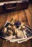 Παλαιές φωτογραφίες, μια κάμερα και ξηρά λουλούδια Στοκ Φωτογραφία
