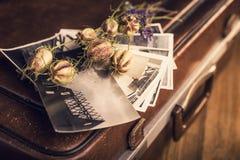 Παλαιές φωτογραφίες, μια κάμερα και ξηρά λουλούδια Στοκ Εικόνες