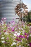 Παλαιοί αγροτικοί ανεμόμυλος και σιλό σε έναν τομέα λουλουδιών Στοκ Εικόνα
