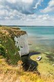Παλαιοί βράχοι του Harry απότομων βράχων στο formatio κιμωλίας ακτών του Dorset - Jurrasic Στοκ Εικόνες