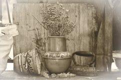 Παλαιοί δοχείο και σίδηρος στη φωτογραφία sepiaretro στοκ εικόνες