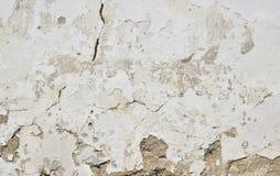 Παλαιός άσπρος χρωματισμένος τοίχος ασβεστοκονιάματος με τις ρωγμές και τους λεκέδες Στοκ Εικόνες