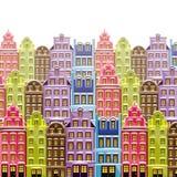 Παλαιός λίγο πόλης υπόβαθρο με τα πολύχρωμα κτήρια Χαριτωμένα μικρά σπίτια φόντο αναδρομικό ελεύθερη απεικόνιση δικαιώματος