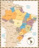 Παλαιός αναδρομικός χάρτης χρώματος της Βραζιλίας Στοκ Εικόνες
