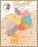 Παλαιός αναδρομικός χάρτης χρώματος της Γερμανίας Στοκ Φωτογραφία