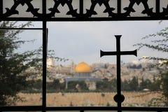 παλαιός βράχος της Ιερουσαλήμ θόλων sity Στοκ Φωτογραφία