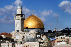 παλαιός βράχος της Ιερουσαλήμ θόλων sity Στοκ Εικόνες