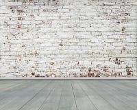 Παλαιός γδυμένος τοίχος τούβλων με το πράσινο ξύλινο πάτωμα στοκ φωτογραφίες με δικαίωμα ελεύθερης χρήσης