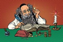Παλαιός Εβραίος με τα νομίσματα διανυσματική απεικόνιση