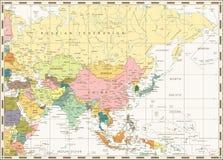 Παλαιός εκλεκτής ποιότητας χάρτης της Ασίας Στοκ εικόνα με δικαίωμα ελεύθερης χρήσης