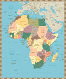 Παλαιός εκλεκτής ποιότητας χάρτης της Αφρικής Στοκ εικόνα με δικαίωμα ελεύθερης χρήσης