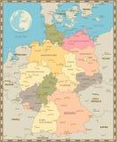 Παλαιός εκλεκτής ποιότητας χάρτης χρώματος της Γερμανίας Στοκ φωτογραφία με δικαίωμα ελεύθερης χρήσης