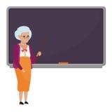 Παλαιός θηλυκός δάσκαλος κινούμενων σχεδίων που στέκεται μπροστά από την κενή διανυσματική απεικόνιση σχολικών πινάκων Δάσκαλος γ απεικόνιση αποθεμάτων