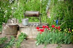 Παλαιός καλά με τα λουλούδια στοκ εικόνες με δικαίωμα ελεύθερης χρήσης