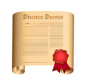 Παλαιός κύλινδρος διαταγμάτων διαζυγίου με μια υγρή σφραγίδα Στοκ Εικόνα