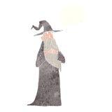 παλαιός μάγος κινούμενων σχεδίων με τη σκεπτόμενη φυσαλίδα Στοκ Φωτογραφίες