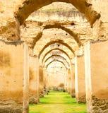 παλαιός Μαροκινός στον πράσινο τοίχο χλόης και αψίδων Στοκ Εικόνες