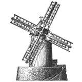 Παλαιός μύλος σε ένα άσπρο υπόβαθρο σκίτσο διανυσματική απεικόνιση