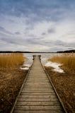 Παλαιός ξύλινος λιμενοβραχίονας, αποβάθρα Στοκ Εικόνες