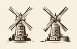 Παλαιός ξύλινος μύλος, λογότυπο ανεμόμυλων ή ετικέτα Γεωργία, καλλιέργεια, εικονίδιο βιομηχανίας μεταποίησης αγροτικών προϊόντων  ελεύθερη απεικόνιση δικαιώματος