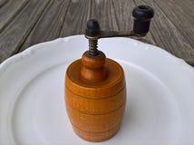Παλαιός ξύλινος μύλος στο πιάτο Στοκ Εικόνα