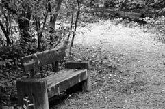 Παλαιός ξύλινος πάγκος σε γραπτό Στοκ Εικόνες
