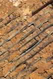 Παλαιός ξύλινος χωμάτινος τοίχος, σύσταση υποβάθρου στοκ φωτογραφίες